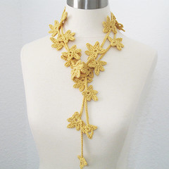 Petite Leaves Garland Lariat - Women All Season Summer Light Scarf/Scarflette/Necktie in Golden Maize (kanokwalee) Tags: nature leaves yellow scarf gold natural handmade crochet jewelry garland yarn lariat etsy maize necktie strands scarflette fibernecklace