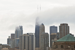Low flying Clouds over Hancock Building, Chicago, IL