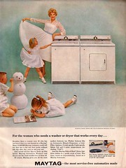 Maytag Ad (saltycotton) Tags: vintage magazine children snowman ad bleach advertisement laundry 1950s washingmachine dryer appliance washer maytag 1959 clorox betterhomesandgardens