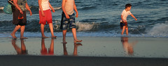 Child's Eye View (cormend) Tags: ocean statepark family sunset summer portrait reflection beach water nikon play legs southcarolina stroll huntingtonbeach d80 cormend