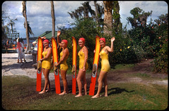 Aquamaids, Cypress Gardens, posing after a show (ElectroSpark) Tags: cars beach vintage florida kodachrome trailers
