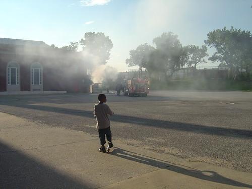 dumpster fire on Rock Creek Church.
