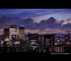 Shiodome sunset... (Ken.Lam) Tags: park pink blue sunset tower japan clouds buildings lights tokyo twilight purple dusk illuminations hour   tones sumida tsukishima axis typhoon offices annex shiodome dentsu  toyosu