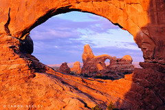 Framing Turret Arch (James Neeley) Tags: sunrise landscape arches explore moab framing archesnationalpark frontpage turretarch northwindowarch mywinners jamesneeley flickr12