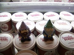 Zandor and Chippy go to Sundae School (The Pottery Place) Tags: school black ice gnome strawberry place cream raspberry pottery chippy sundae travelinggnome zandor travelinggnomecontest thepotteryplace