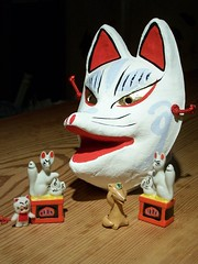 Kitsune souvenirs (Kaz_art4sale) Tags: white statue leaf costume shrine doll mask inari bib charm fox foxes porcelain qp transform kitsune statuette kewpie redfox youkai whitefox yokai vulpes oinari vulpin