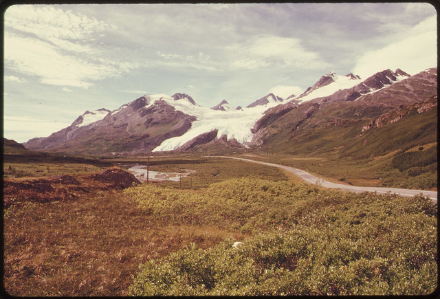 View West Along Richardson Highway Toward Worthington Glacier and Thompson Pass081974 by The US National Archives