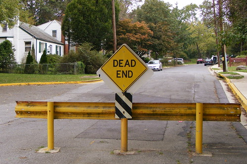 Dead End Sign Behind Takoma Park City Hall