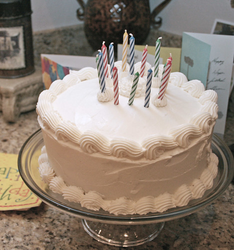 chocolate cake with white traditional buttercream icing