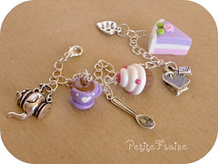 Afternoon Snack Bracelet, fimo polymer clay (*Merylu*  PetiteFraise) Tags: pink food white cup rose metal handicraft yummy strawberry tea sweet handmade cream rosa spoon jewelry charm bijoux jewellery fimo blueberry lilac cupcake clay snack bracelet teapot muffin teatime teabag torta merenda fragola panna polymer mirtillo braccialetto dawanda petitefraise merylu