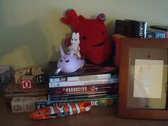 "I got an ""I Heart Guts"" plush! Finally! (redmeg8) Tags: red painting toy plush shelf kidrobot frame blocks dvds jackalope penandpaper iheartguts iheartgutscom boxcutterfish"