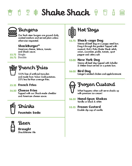 Shake Shack Citi Field Menu