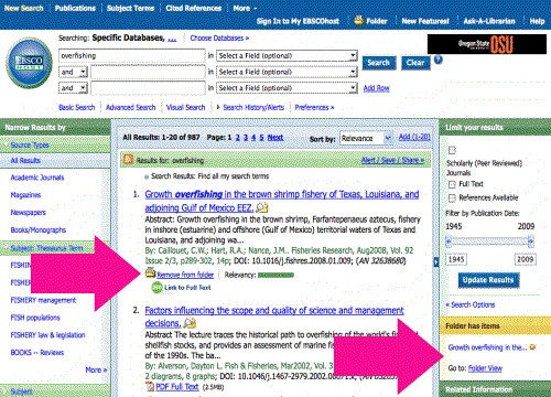 screenshot - adding to folders in EBSCOhost