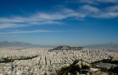 Athens View 3 (Alf's Work) Tags: street city travel sky holiday clouds canon buildings eos 350d smog cityscape hill hellas alf athens visualart lykavittos asmyers