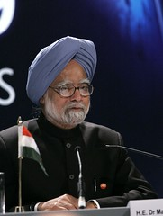 Prime Minister of India, Manmohan Singh, addre...