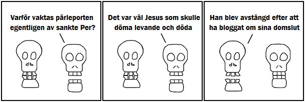 Varför vaktas pärleporten egentligen av Sankte Per?; Det var väl Jesus som skulle döma levande och döda; Han blev avstängd efter att ha bloggat om sina domslut