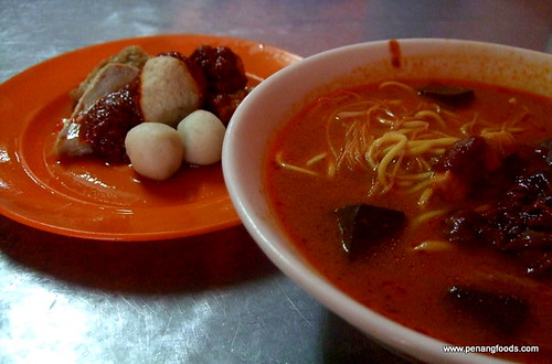 curry mee and fish balls
