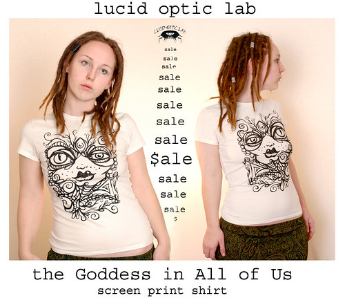 SALE the Goddess in All of Us screenprint on white shirt