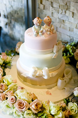 Nefeli & Dimitri's Christening Cake (Sweet Tiers) Tags: boy roses 3 girl cake twins hand sugar celebration made figurines christening ribbon bows topper tier