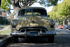 Rocket 88 again (jgregorynsu) Tags: california venice 1949 oldsmobile rocket88 oldmaneatingcatfood photoshopedoutagarbagecan itookthisinmidday