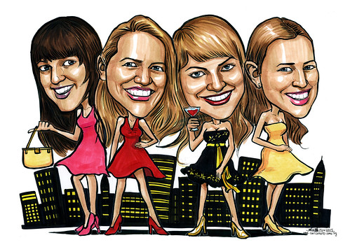 Group caricatures Sex In The City A4