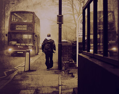 Before the end of the world [2] (Che-burashka) Tags: street morning urban mist man reflection bus london weather fog walking leaving 50mm candid apocalypse documentary suburbs cinematic doubledecker textured apocalyptic 4g bexleyheath greaterlondon 400d locallondon urbanlyric katianosenko