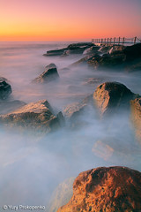 Avalon Beach, Sydney, Australia (-yury-) Tags: ocean longexposure sky sun seascape beach water sunrise rocks waves sydney australia nsw avalon supershot   abigfave ultimateshot