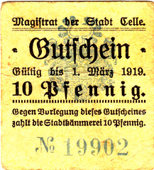 Celle, 10 pf, 1919 (Iliazd) Tags: notgeld germaninflationarycurrency emergencymoney germanpapermoney