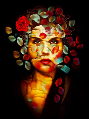 Pensamientos (Marco Escobedo  Art / Design) Tags: light woman color colour art nature colors beautiful face digital photoshop design photo petals nice paint extreme exotic thoughts fantasy dreams change fixed lovely retouch effect dreamcatcher transformacion gotico maquillaje bauty cirugia gotick manipulacin infinestyle photoshopcreativo atiqueartificia