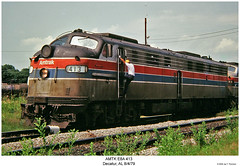 AMTK E8A 413 (Robert W. Thomson) Tags: railroad train diesel alabama railway trains amtrak decatur locomotive trainengine coveredwagon e8 floridian passengertrain emd amtk e8a sixaxle