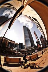 Frankfurt- with a bicyclist ;) (Meli/stressed out :[) Tags: blue sky clouds nikon frankfurt main himmel wolken fisheye schild 8mm sonnenstrahlen frankfurtammain hochhaus peleng d300 sonnen strase