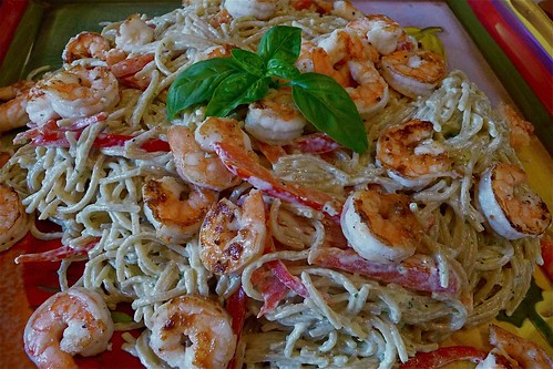 Shrimp & Basil Carbonara-ish - Cookin Canuck