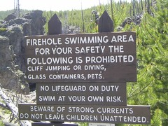 Firehole River Swimming Sign