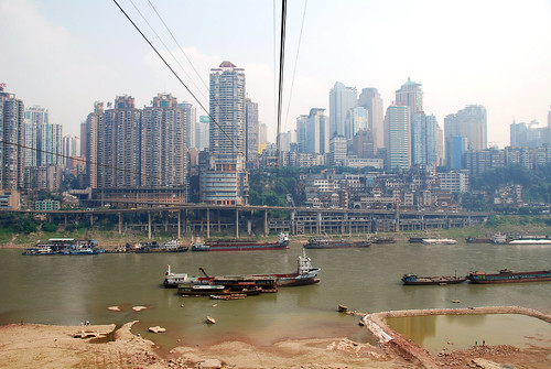 view of jiefangbei from across the jialing, chongqing