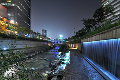 Nighttime Cheonggyecheon (christian.senger) Tags: city travel blue light urban water night digital river geotagged waterfall nikon asia outdoor korea explore seoul hdr d300 cheonggyecheon photomatix nikoncapturenx2 christiansenger:year=2009