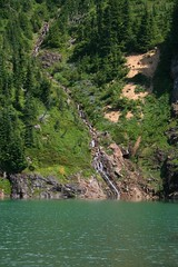 Waterfall coming down into Ruby Lake