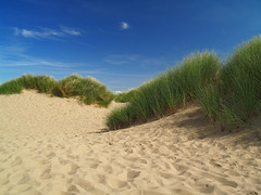 Dream a Little Dream... (Linda Pinkney Photography) Tags: blue summer sky beach grass clouds photoshop sand dunes footprints ainsdale southport abigfave theunforgettablepictures pixelitpink lindapinkney