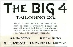 The Big 4 Tailoring Co., Butte, Montana (1901) (Butte-Silver Bow Public Library) Tags: bw ads montana butte suit repair trousers advertisements tailor pamphlet silverbow overcoat 1901 butteamerica 19001909 buttefiredepartment pissot buttesilverbowpubliclibrary buttepubliclibrary bsblibrary buttedigitalimageproject petersanger wwwbuttepubliclibraryinfo peoplespubco big4tailoringco hfpissot swyomingbuttemt