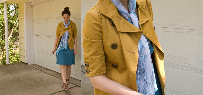 brooklyn industries mustard jacket blue banana republic gladiator spring style bun dash dot dotty fashion style blog
