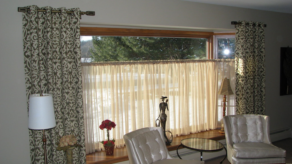 Stationary Panels with Sheer Drapes