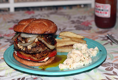 Mega Hamburger Eight - The Return (with special guests macaroni salad and fries) (Marshall Astor - Food Fetishist) Tags: food dinner bacon burger tomatoes frenchfries onions delicious foodporn fries pineapple hamburger chorizo friedegg imadethis iatethis icookedthis macaronisalad wholewheatbun rjsbobbeque