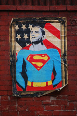 Super Man (laverrue) Tags: nyc brick poster stars blog manhattan flag s superman american frame superhero blogged gothamist stipes dface lowereasrside
