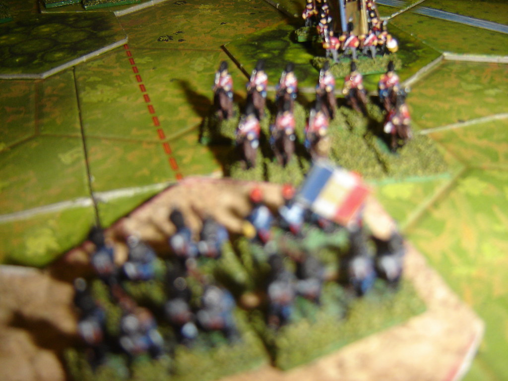 English heavy cavalry charge up hill but are repulsed by well-timed volley