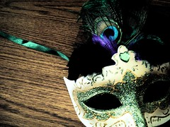 Mask (Silent Orchestra) Tags: wood blue white green glitter gold purple floor mask feathers peacock ribbon peacockfeathers silentorchestra maskandfeathers laughlovehope