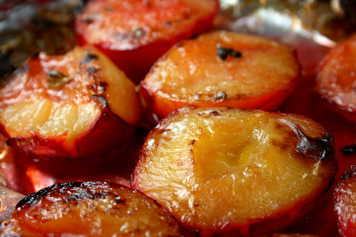 Baked Plums in tray