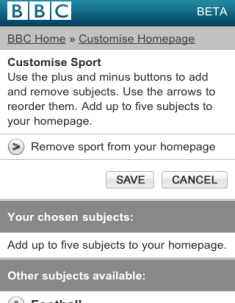 BBC mobile - customise page