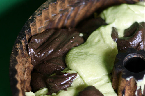 Chocolate Matcha Cake Batter