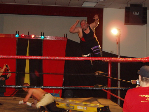 In the Fans Bring the Weapons match, Lacey and Wyatt held nothing back, as Lacey launched from the top rope with an elbow drop.