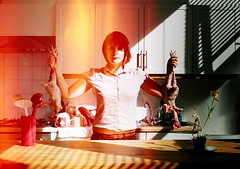 self portrait with chickens (snaggle.tooth) Tags: selfportrait chickens kitchen dead sink superia lightleak tulip pentaxk1000 samtaylorwood potplant