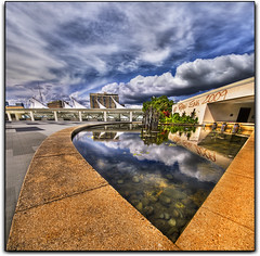 An Eye Into The Sky (Ryan Eng) Tags: roof sky reflection lines architecture clouds hawaii pond oahu curves honolulu dri hdr sigma1020mm hawaiiconventioncenter nikond90 ryaneng